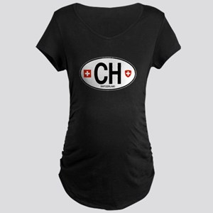 Switzerland Euro Oval Maternity Dark T-Shirt