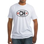 Switzerland Euro Oval Fitted T-Shirt