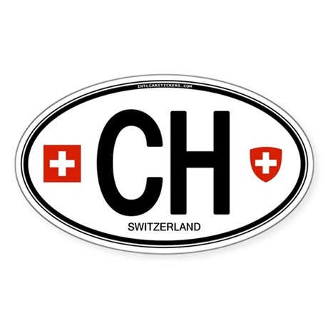 Switzerland Euro Oval Oval Sticker
