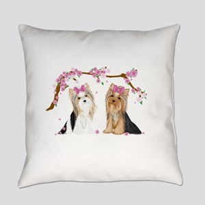 Yorkies in Blossom Everyday Pillow