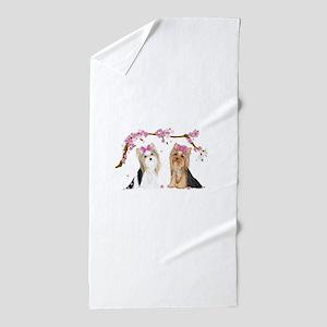 Yorkies in Blossom Beach Towel