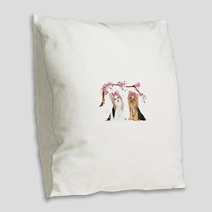 Yorkies in Blossom Burlap Throw Pillow
