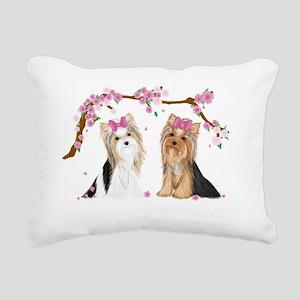 Yorkies in Blossom Rectangular Canvas Pillow