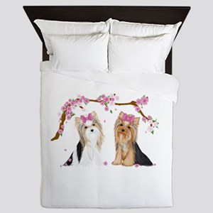 Yorkies In Blossom Queen Duvet