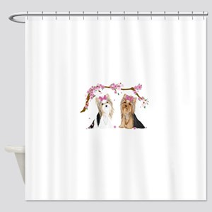 Yorkies in Blossom Shower Curtain