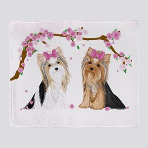 Yorkies In Blossom Throw Blanket