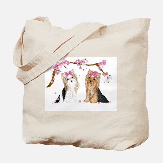 Yorkies in Blossom Tote Bag