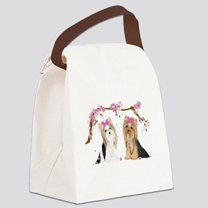 Yorkies in Blossom Canvas Lunch Bag
