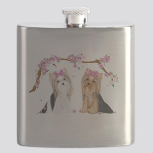 Yorkies in Blossom Flask