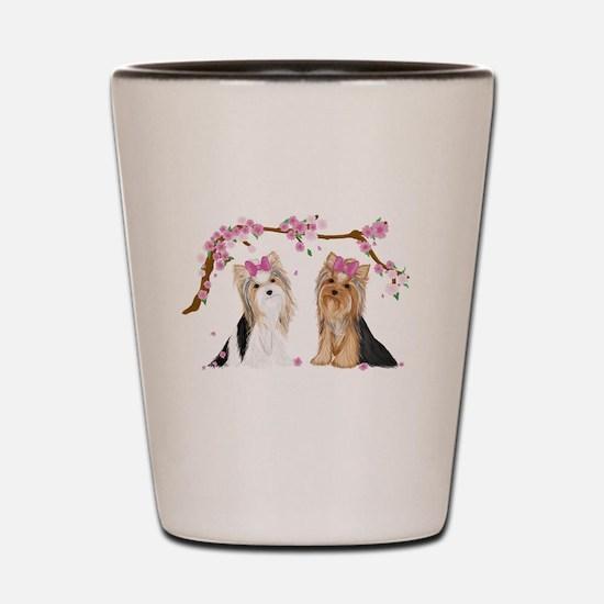 Yorkies in Blossom Shot Glass