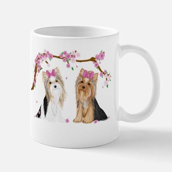 Yorkies in Blossom Mugs
