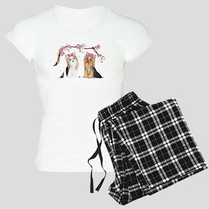 Yorkies in Blossom Pajamas
