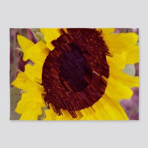 Abstract Sunflower 5'x7'Area Rug