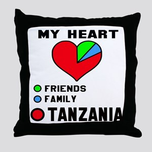 My Heart Friends, Family and Tanzania Throw Pillow