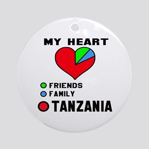 My Heart Friends, Family and Tanzan Round Ornament