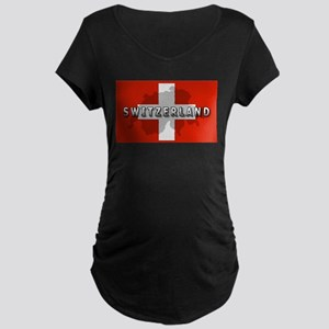 Switzerland Flag Plus Maternity Dark T-Shirt