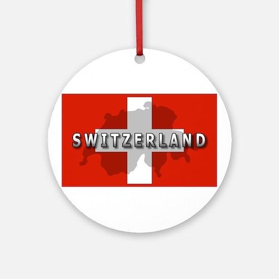 Switzerland Flag Plus Ornament (Round)
