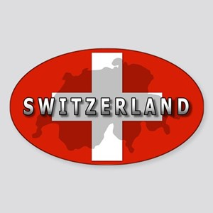 Switzerland Flag Plus Oval Sticker