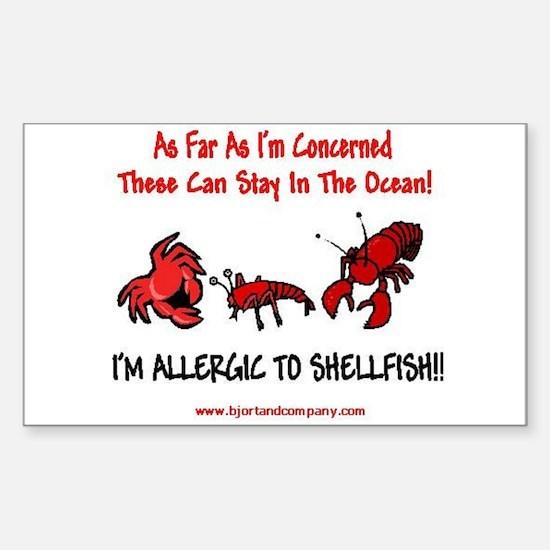 Shellfish Allergy Rectangle Decal