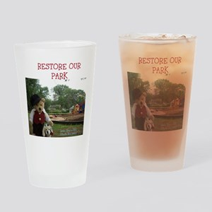 RESTORE OUR PARK BEAR. COLONIA, NEW Drinking Glass