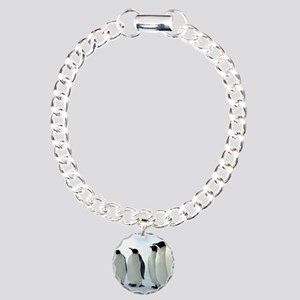 Lined up Emperor Penguin Charm Bracelet, One Charm