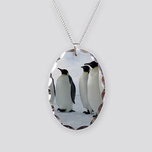 Lined up Emperor Penguins Necklace Oval Charm