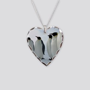 Lined up Emperor Penguins Necklace Heart Charm