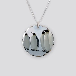 Lined up Emperor Penguins Necklace Circle Charm