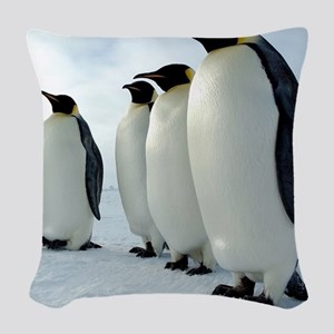 Lined up Emperor Penguins Woven Throw Pillow