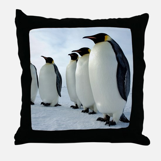 Lined up Emperor Penguins Throw Pillow