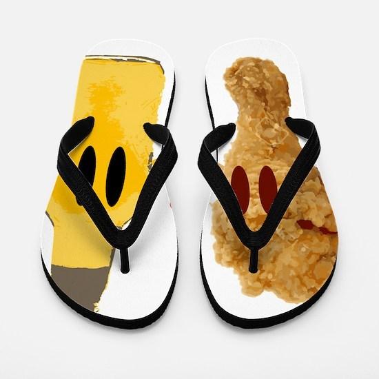 Chicken and beer Flip Flops