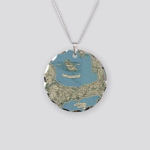 Vintage Map of Cape Cod (194 Necklace Circle Charm