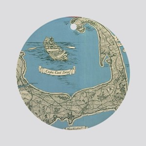 Vintage Map of Cape Cod (1945) Round Ornament