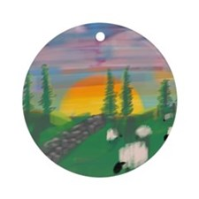 sunset wall Round Ornament