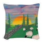 sunset wall Woven Throw Pillow