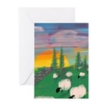 sunset wall Greeting Cards