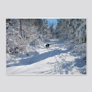 Black Lab Winter Journey 5'x7'Area Rug