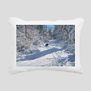Black Lab Winter Journey Rectangular Canvas Pillow