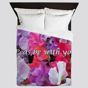 Peas be with you sweet peas Queen Duvet