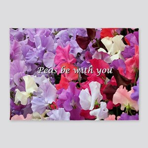 Peas be with you sweet peas 5'x7'Area Rug