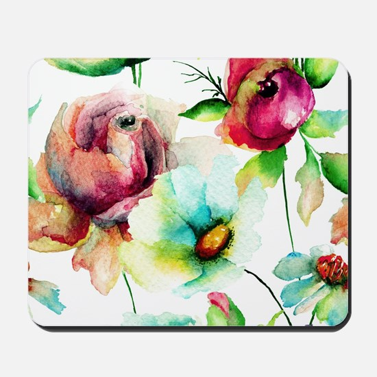 Colorful Watercolors Flowers Pattern Mousepad