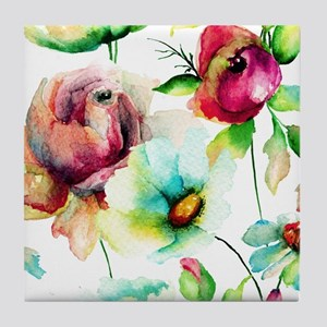 Colorful Watercolors Flowers Pattern Tile Coaster