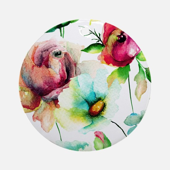 Colorful Watercolors Flowers Patter Round Ornament