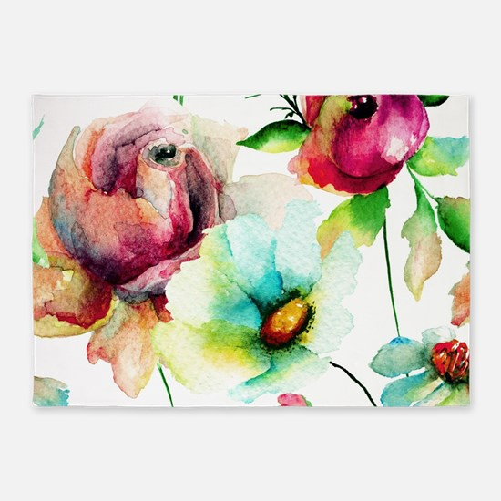 Colorful Watercolors Flowers Patter 5'x7'Area Rug