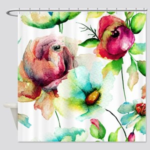 Colorful Watercolors Flowers Patter Shower Curtain