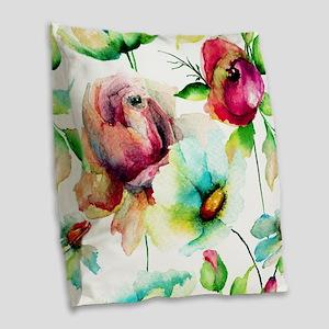 Colorful Watercolors Flowers P Burlap Throw Pillow