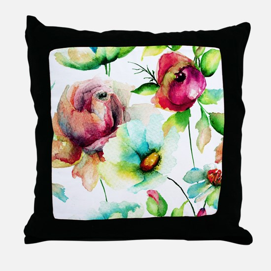 Colorful Watercolors Flowers Pattern Throw Pillow