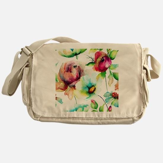 Colorful Watercolors Flowers Pattern Messenger Bag