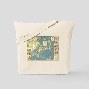 Vintage Cape Cod Map (1940) Tote Bag