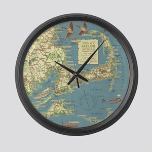 Vintage Cape Cod Map (1940) Large Wall Clock